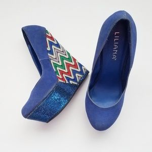 Liliana Blue Wedges with Knitted Fabric on Wedge